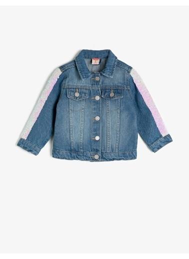 Koton Pullu Klasik Yaka Jean Ceket Mavi